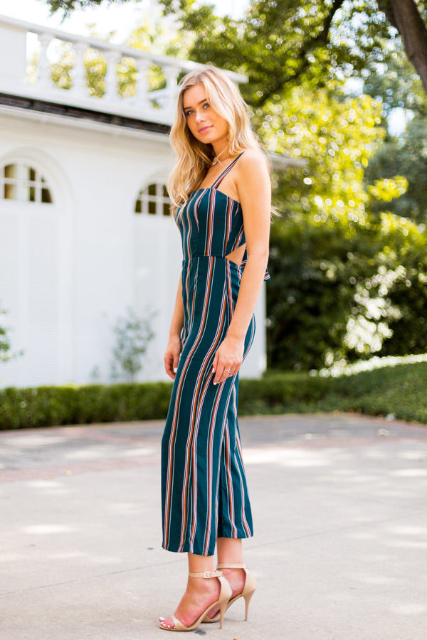Fallin' For Stripes Jumpsuit- Pine