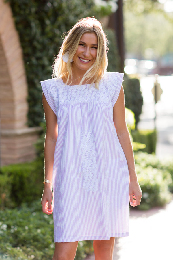 The Layla Dress - Lavender Stripe