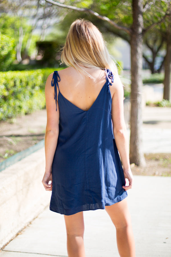 All Buttoned Up Dress- Navy