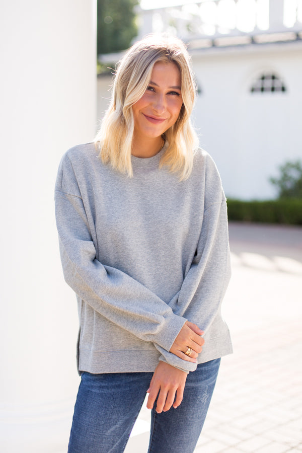 Amuse Society Low Key Fleece Top- Grey