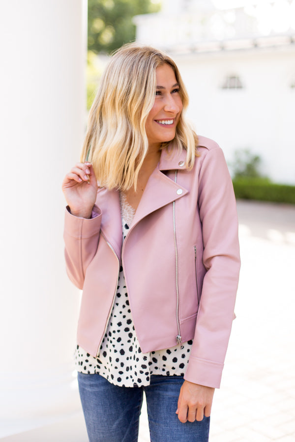 BB Dakota Leather Jacket- Rose Quartz