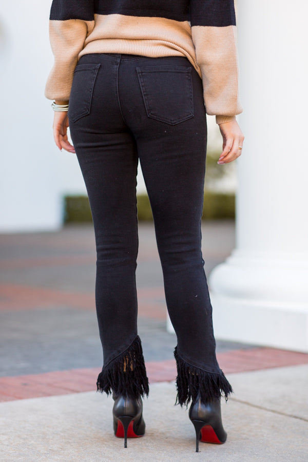 Dream On Fringe Skinny Jeans - Washed Black