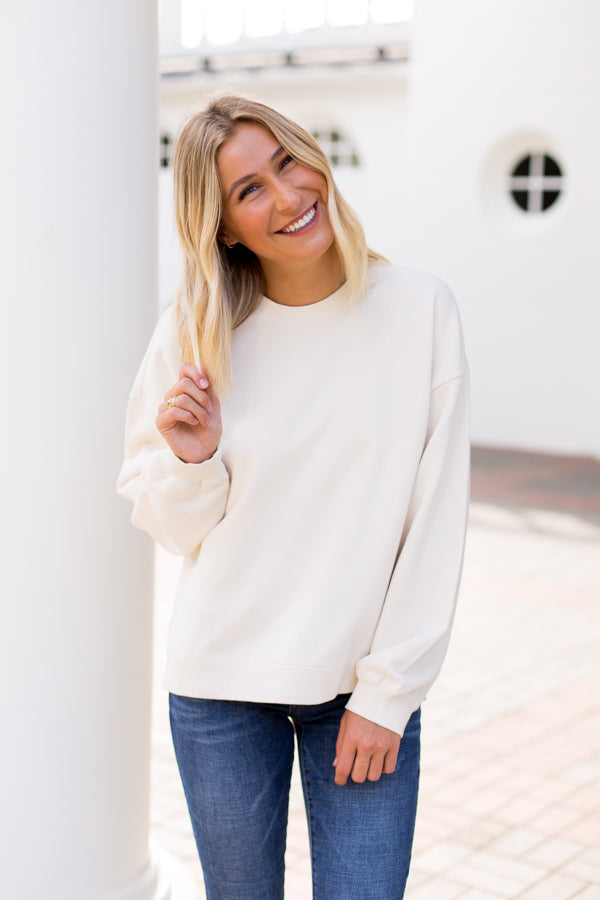 Amuse Society Low Key Fleece Top- Casa Blanca