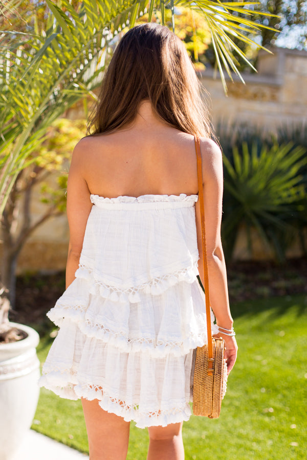 Palm Palm Skirt- White