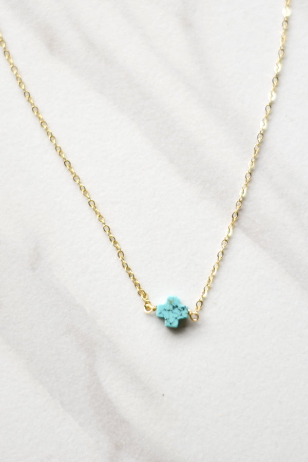 Turquoise Plus Necklace- Gold