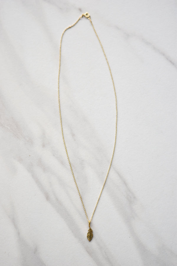 Feather Necklace- Gold