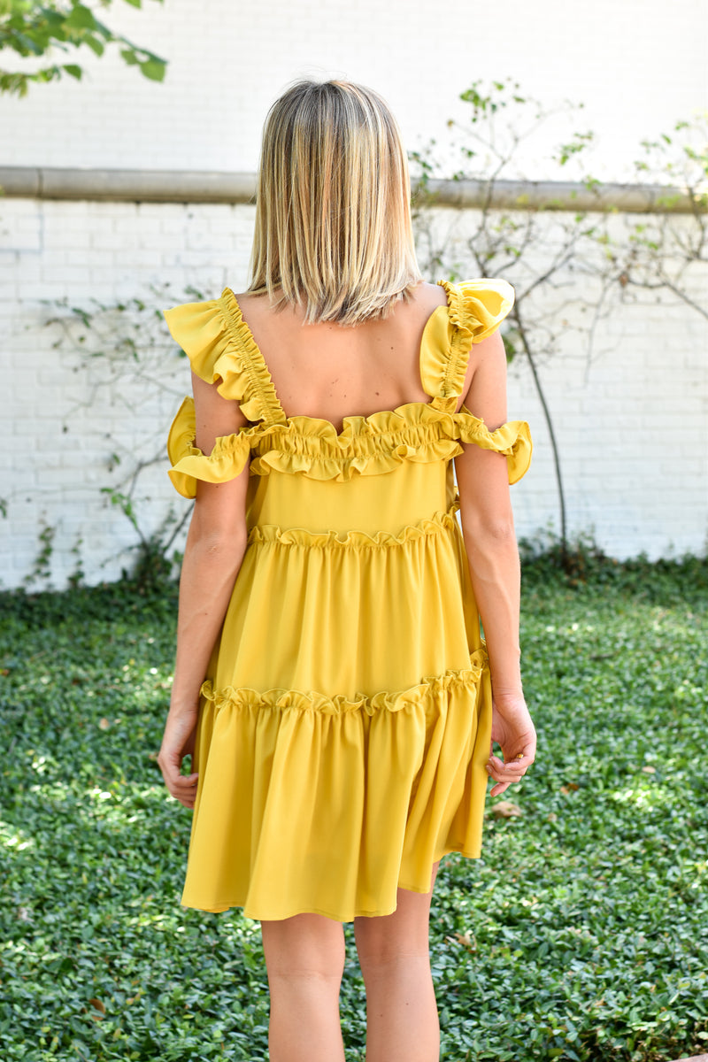 City Strolling Ruffle Dress - Mustard