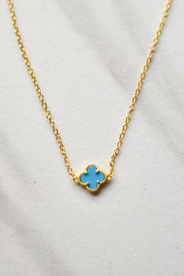 Lucky Blue Clover Necklace- Gold