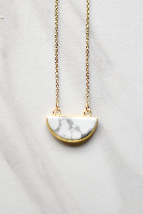 Semi-Circle Marble Necklace- Gold