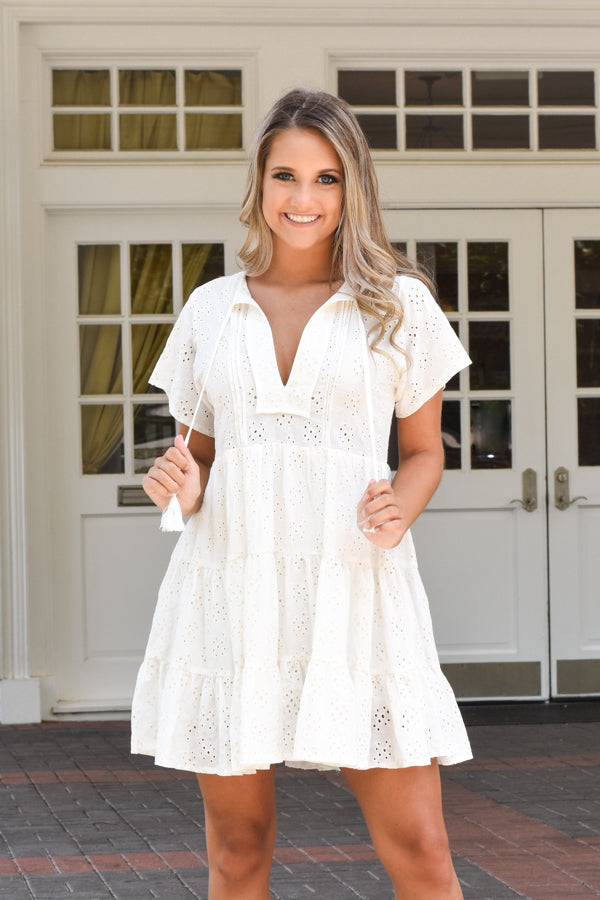 Feels Like Summer Dress - White Eyelet