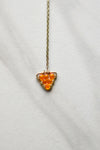 Orange Triangle Drop Necklace- Gold