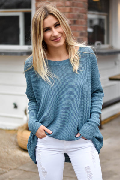 Savannah Knit Sweater Top- Teal Denim
