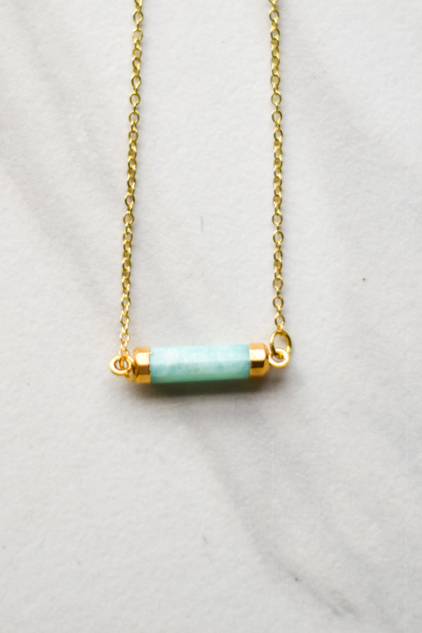 Gold Mini Prism Necklace- Teal