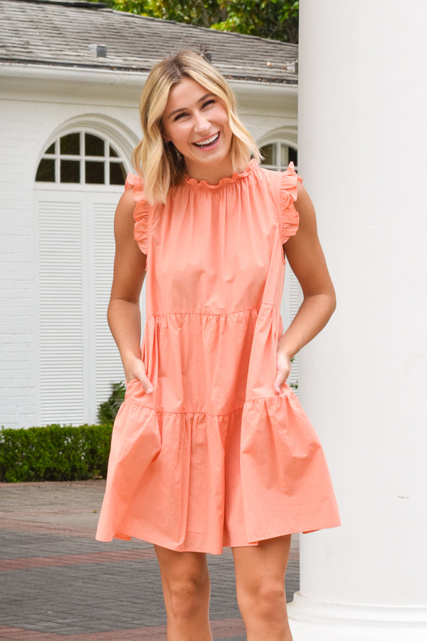 All Smiles Babydoll Dress - Cantelope