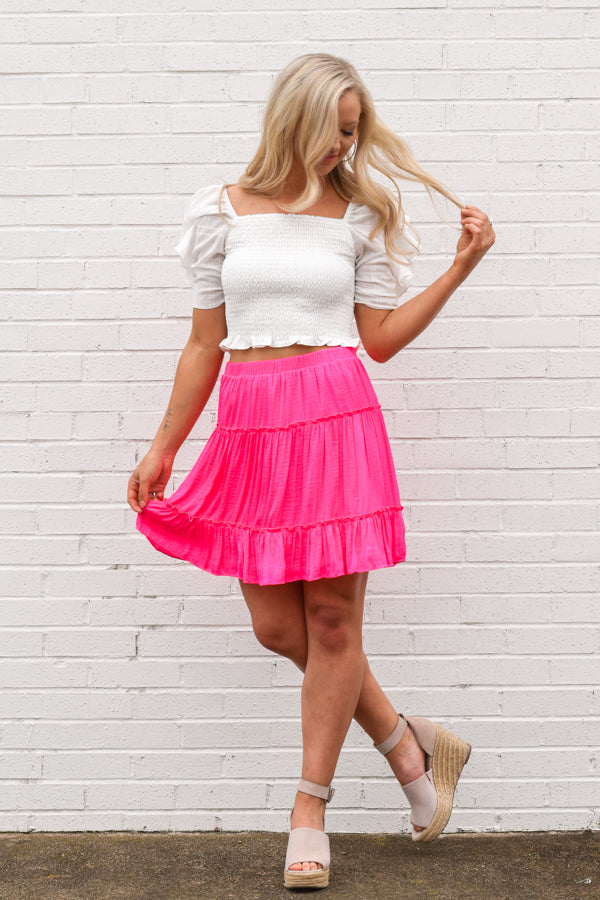Brighten Your Day Skirt - Hot Pink