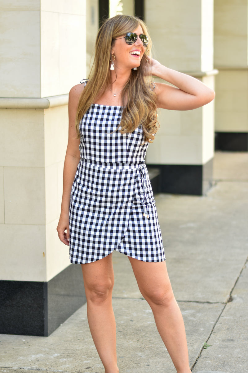 Double Check Wrap Dress - Black
