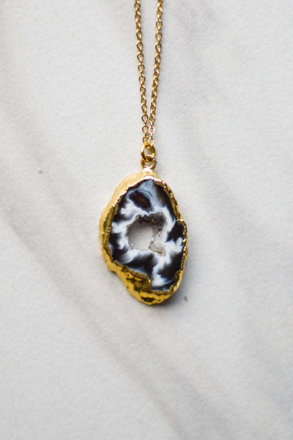 Cowhide Geode Necklace- Gold
