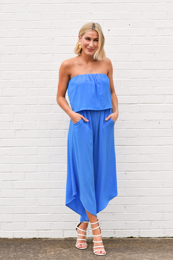 Headed To The Beach Jumpsuit - Clean Blue