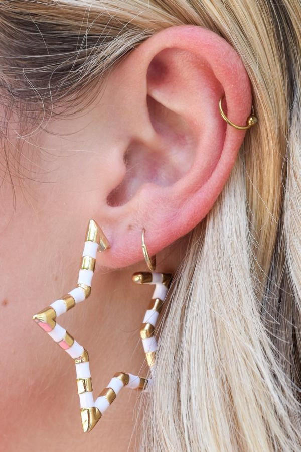Star Bright Earrings - White