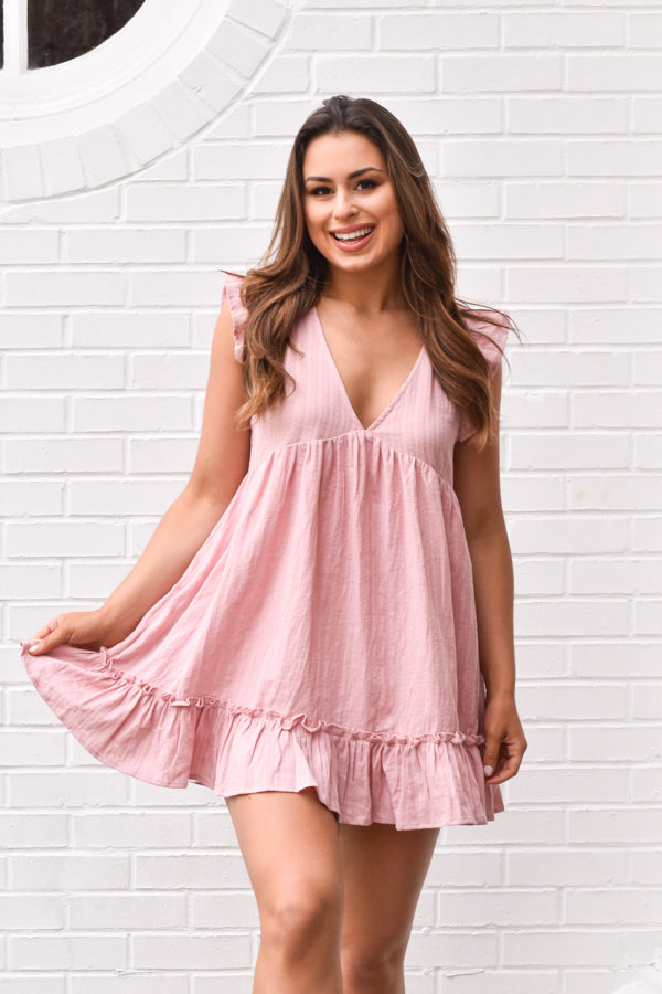 Love Club Babydoll Romper - Cameo Pink