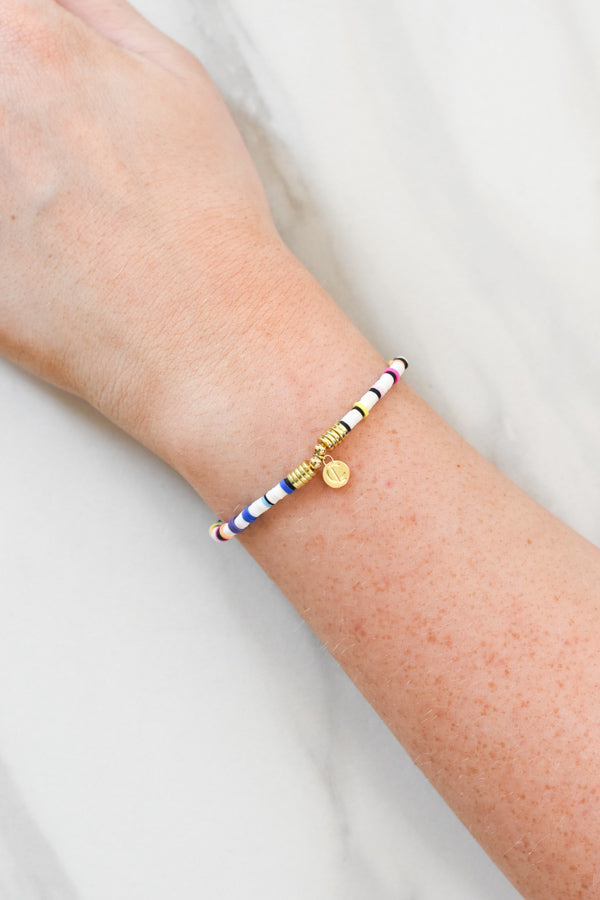 Sweet Stackable Bracelet - White & Rainbow