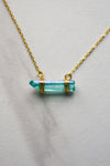 Clear Crystal Necklace- Teal
