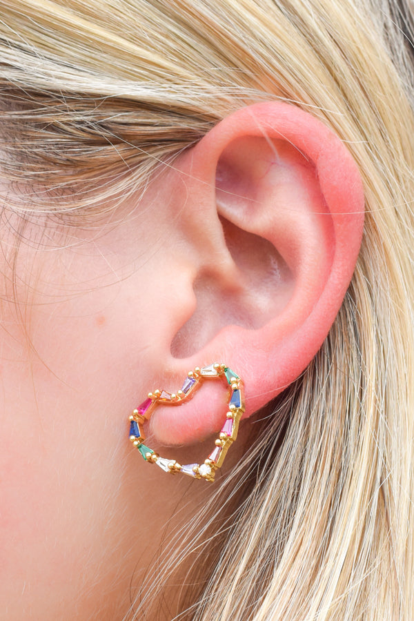 Rainbow Heart Stud Earrings - Gold