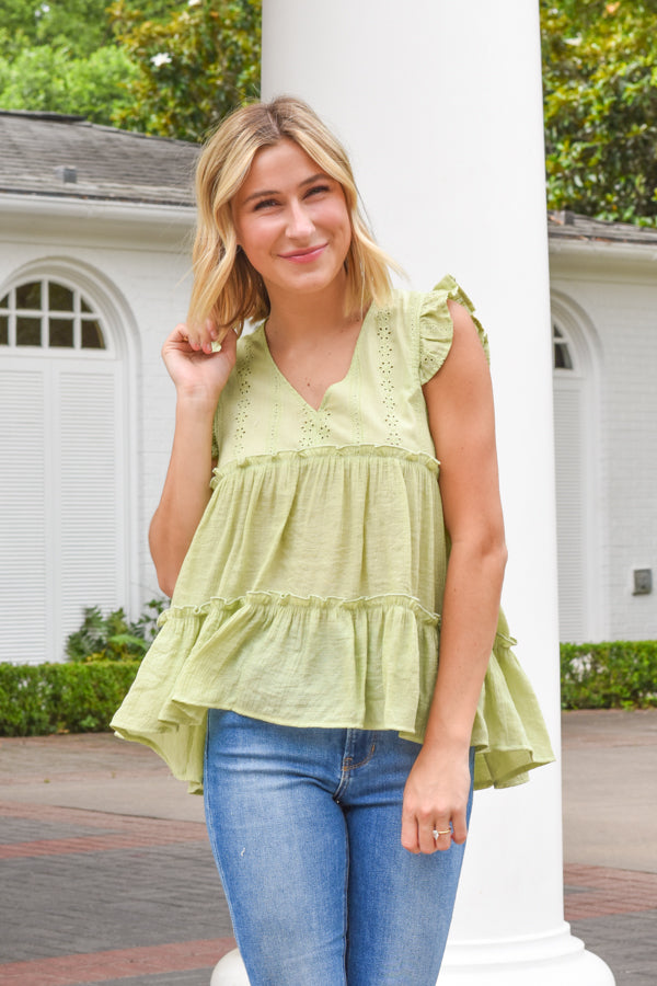 Simply Summer Babydoll Top - Sage