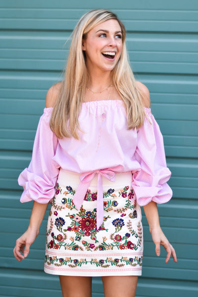 LuLu Off The Shoulder Crop Top - Pink and White Stripe
