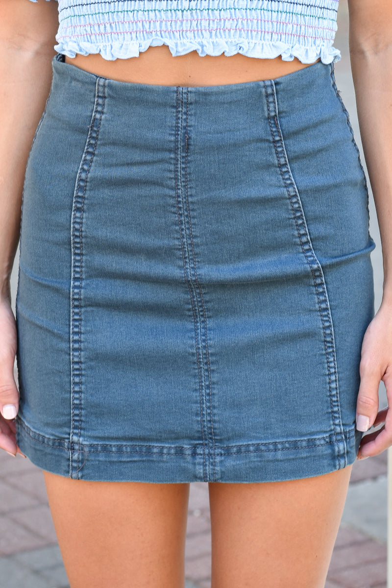 Basic Navy Denim Skirt