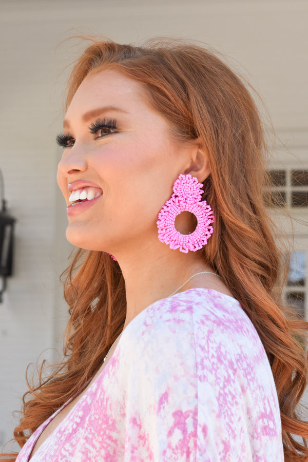 Rise To The Occasion Earrings - Light Pink