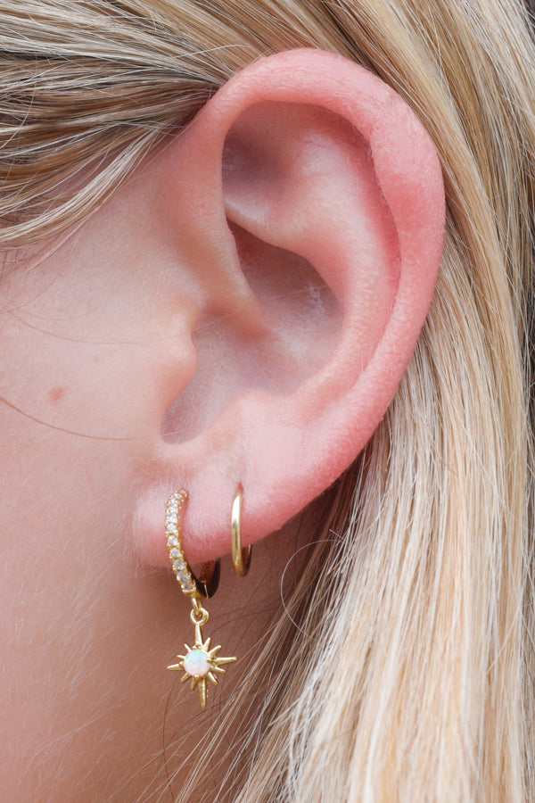 Twinkling Sky Huggie Earrings - Gold