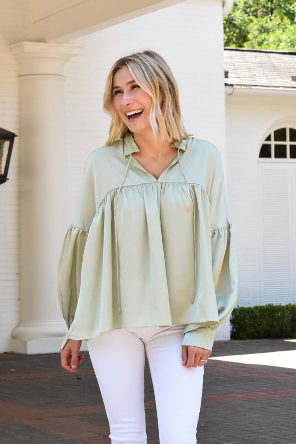 Go With The Flow Top - Sage