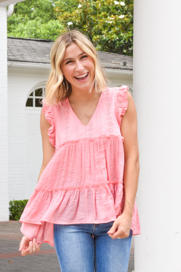 Simply Summer Babydoll Top - Spring Coral