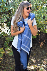 Cold Weather Multi Blue Blanket Scarf