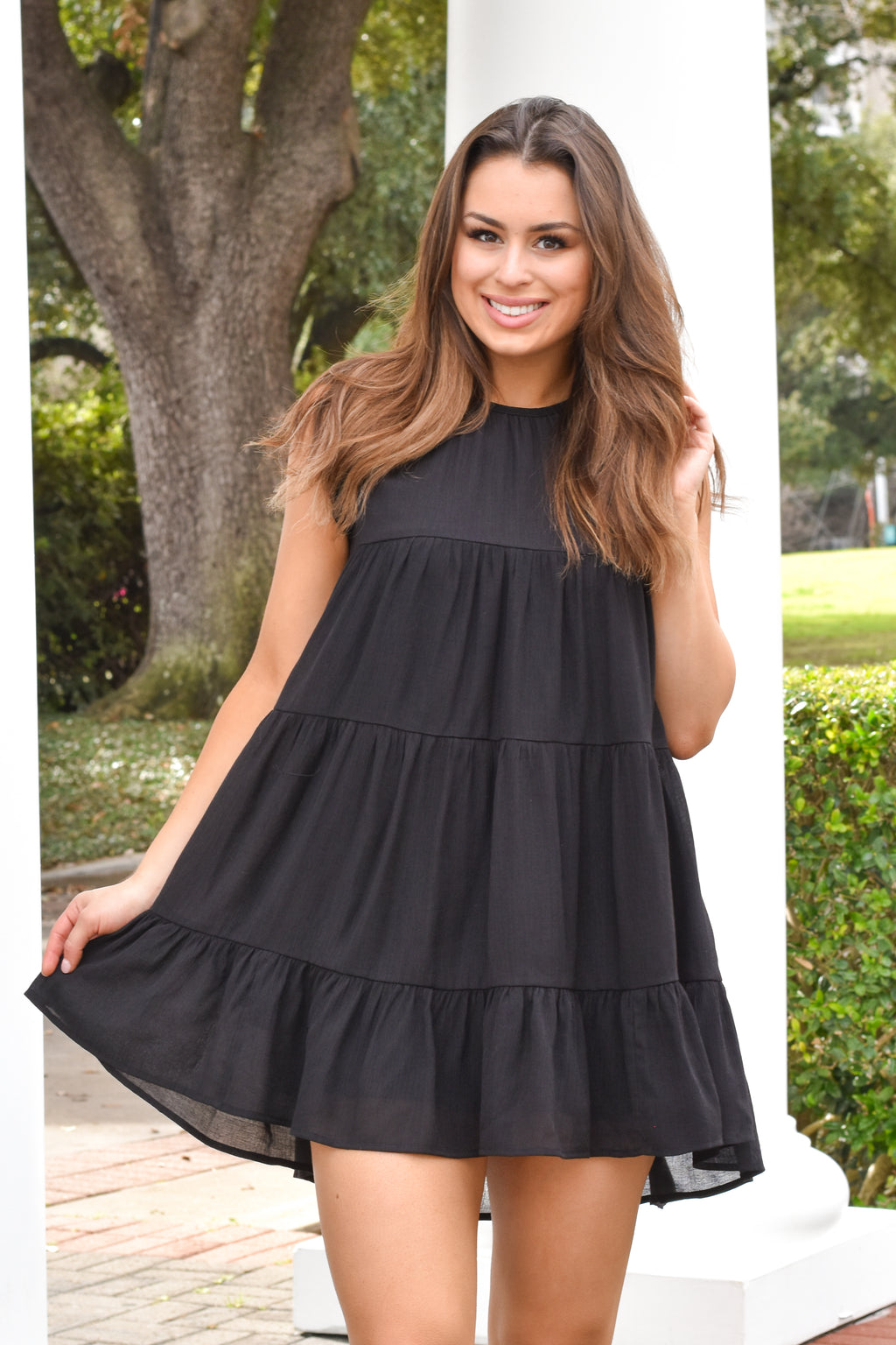 Out And About Baydoll Dress - Black