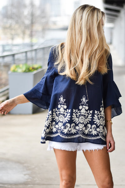 Groovin' Bell Sleeve Top - Navy