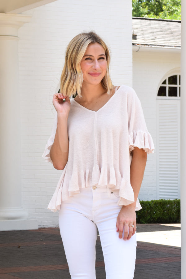 Seaside Ruffle Top - Blush