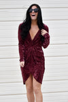 Wine Be The One Velvet Dress