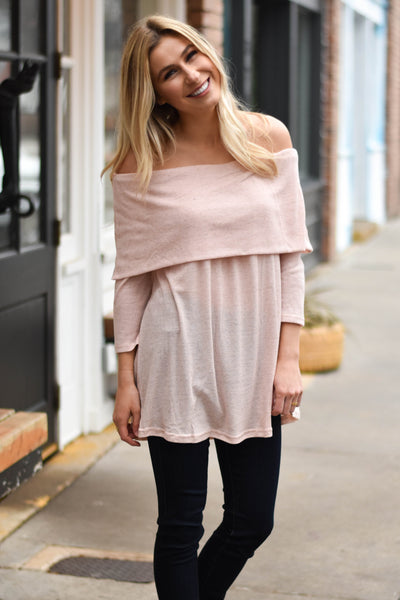 Cool It Off The Shoulder Top- Blush