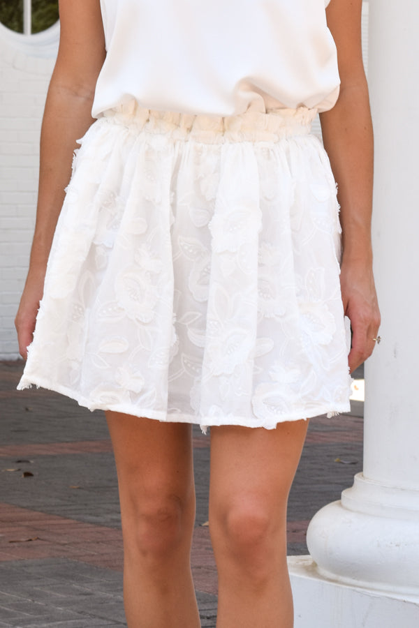 In Full Bloom Skirt - White