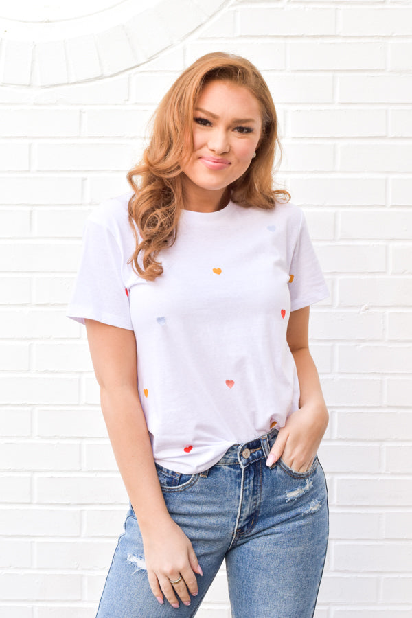 Conversation Hearts Tee - White