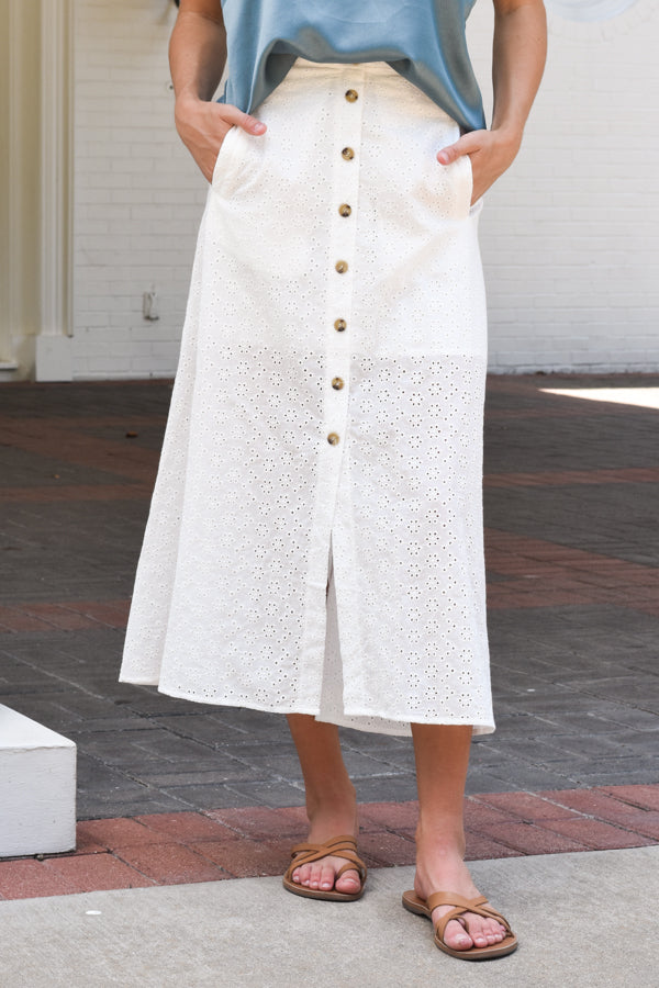 I Spy Eyelet Midi Skirt - White