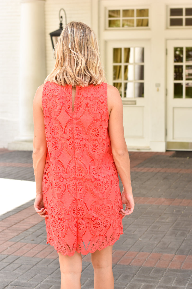 All Laced Up Dress - Coral