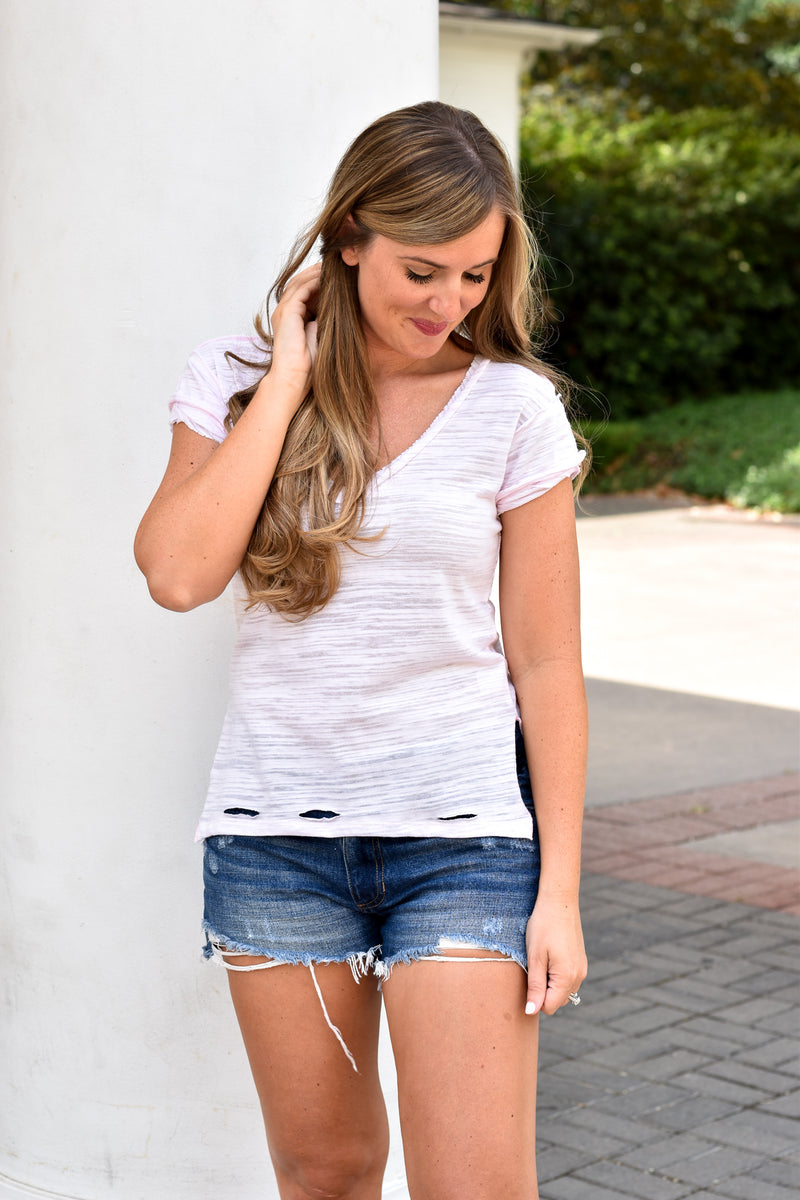 Distressed Side Slit Tee - Light Pink
