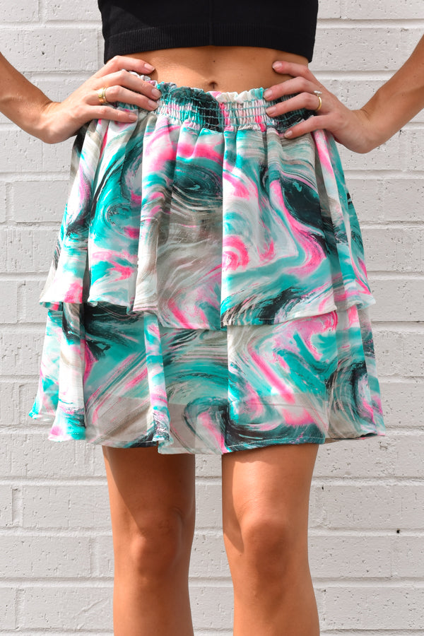 Washed Ashore Skirt - Pink & Mint