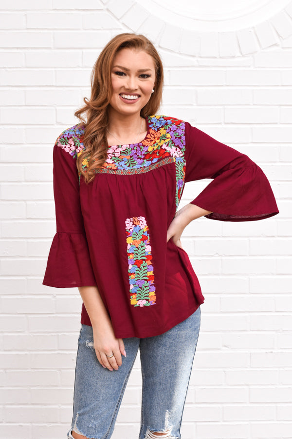 The Bridget Long Sleeve Top - Burgundy