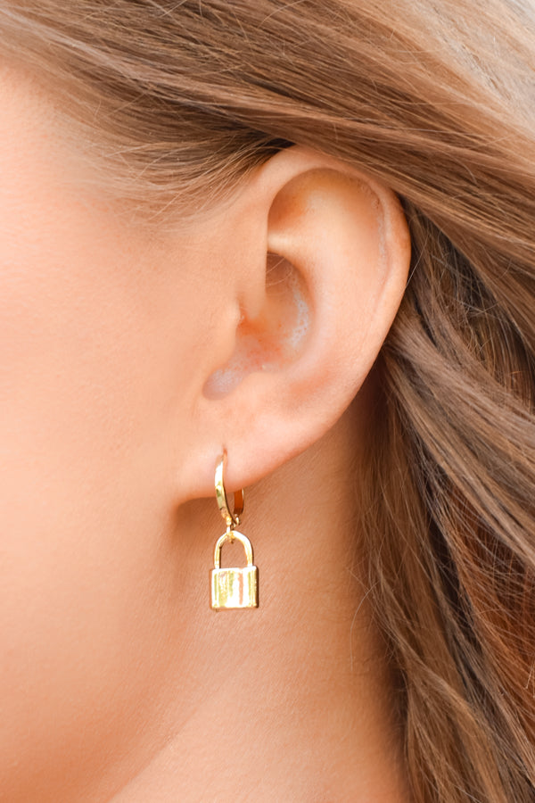 Locked In Love Huggie Earrings - Gold