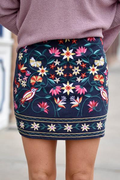 Girl Talk Embroidered Skirt- Navy