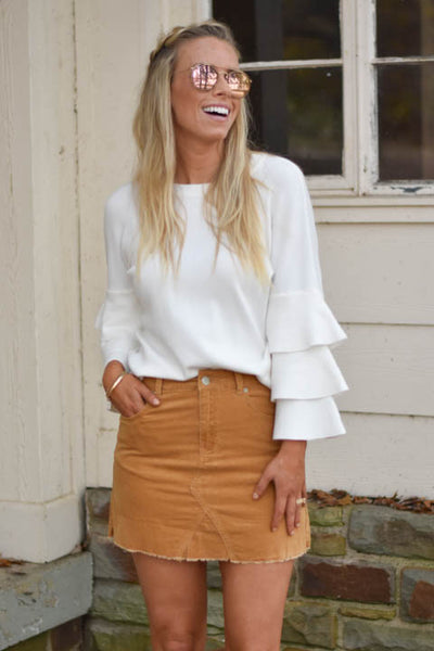What A Girl Wants Corduroy Skirt-Tan